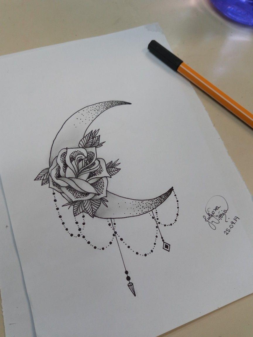 Tattoo Lua E Rosa Desenhos Tattoo Drawn Tumblr Tatuagem De
