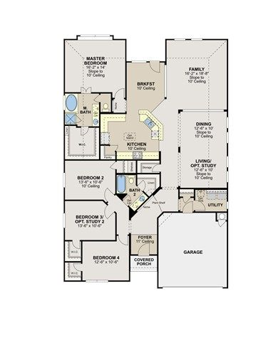 Orlando Floorplan By Ryland Homes 4 Bd 2 Ba 2 Car 2 475 Sq Ft 1 Story 245 990 No Fireplace Nor Covered Porch Ryland Homes Floor Plans House Floor Plans