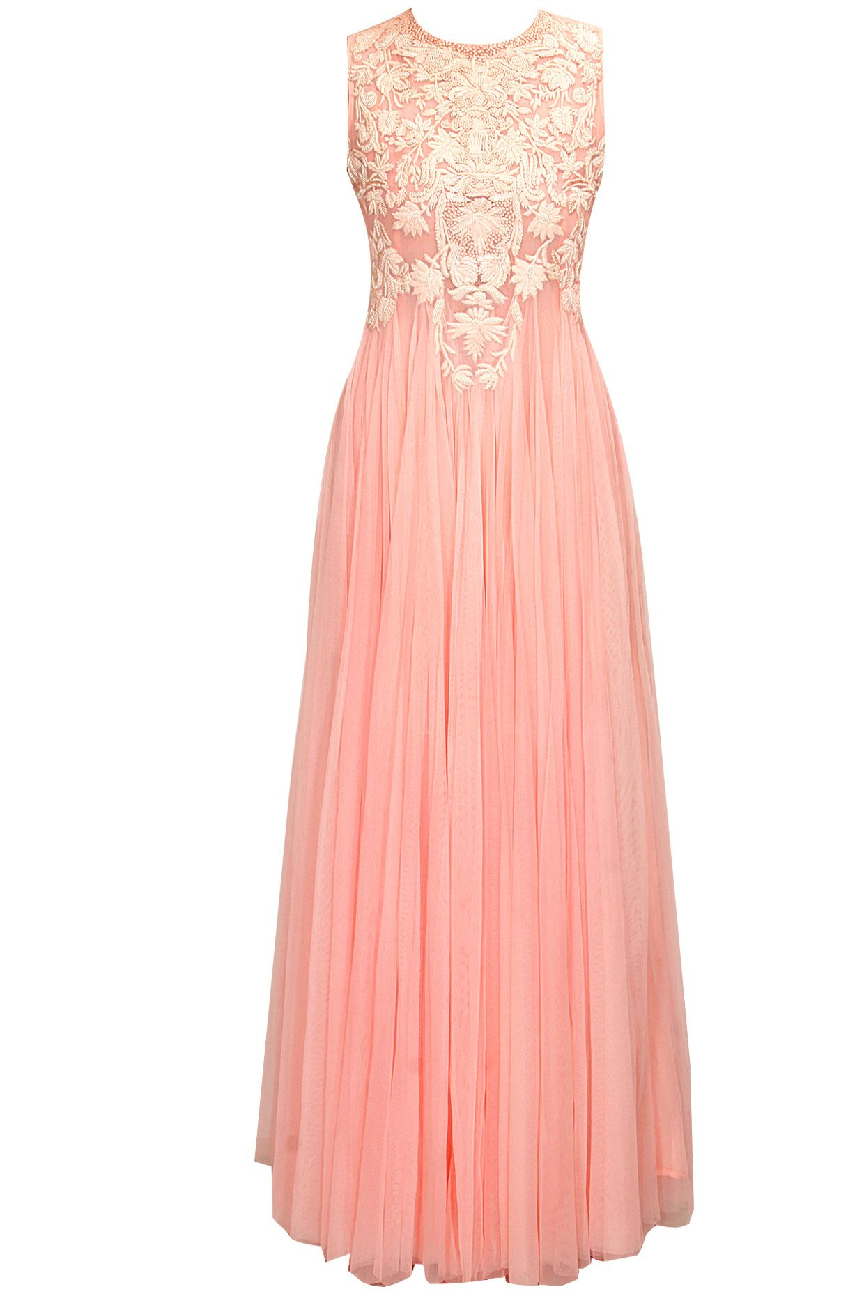 Blush pink floral thread embroidered flared gown by samant chauhan
