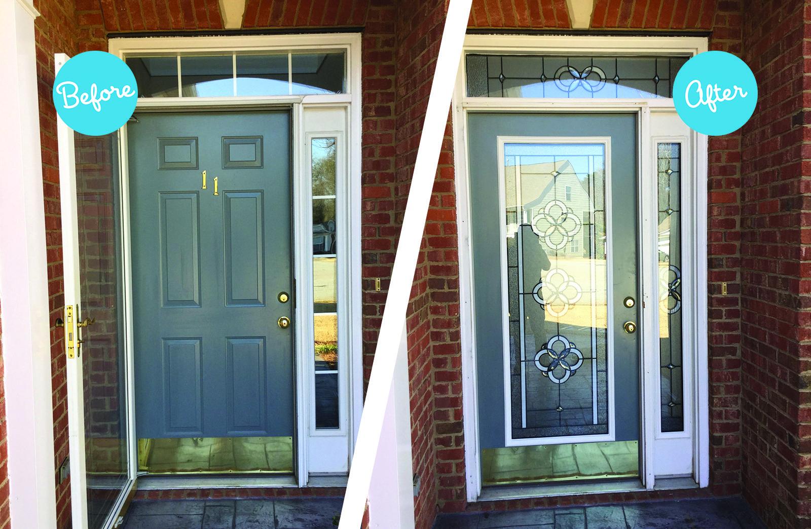 Your Door Brand New Look Get Your Own Door Makeover For The Fraction Of The Cost Of A New Door Front Door Transformation Decorative Door Glass Front Door