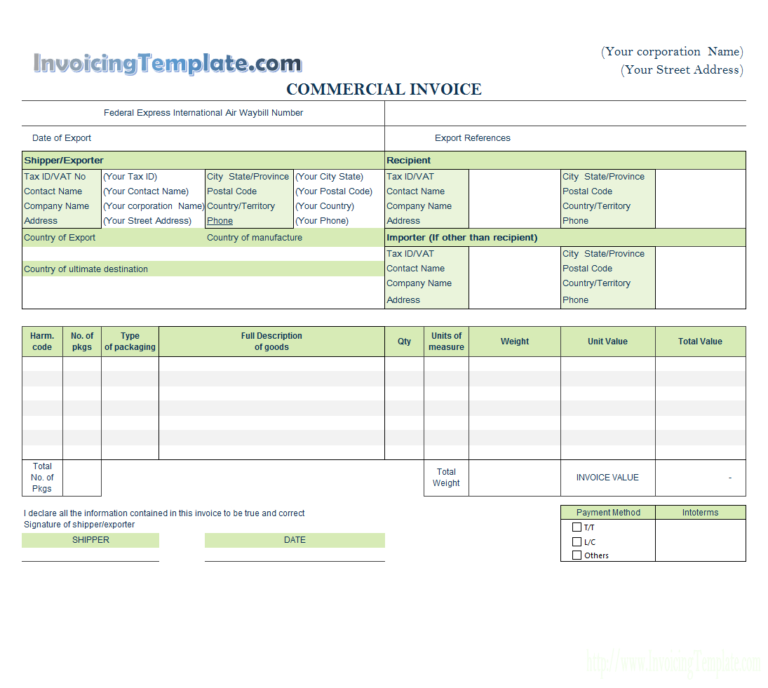 Sample Commercial Invoice Consignee Form Sample Forms Invoice Format Invoice Template Invoicing