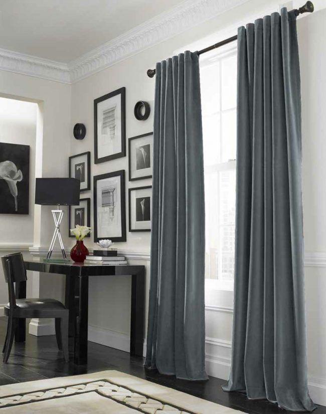 gardinen und vorhänge blaugrau modern schreibtisch bilder ...