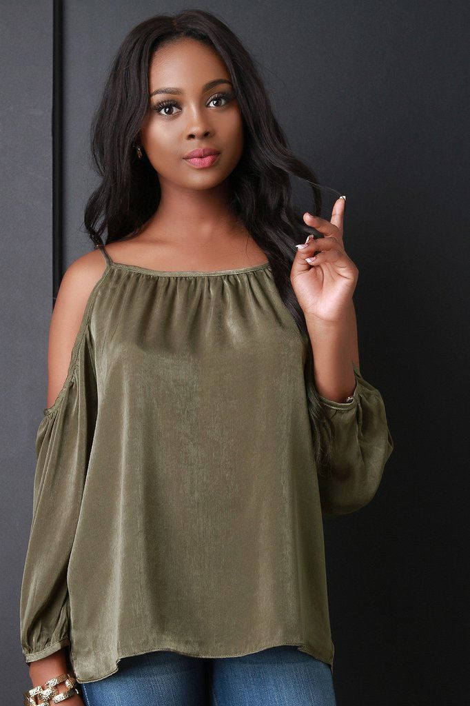 Satin Cold Shoulder Shift Top – Style Lavish