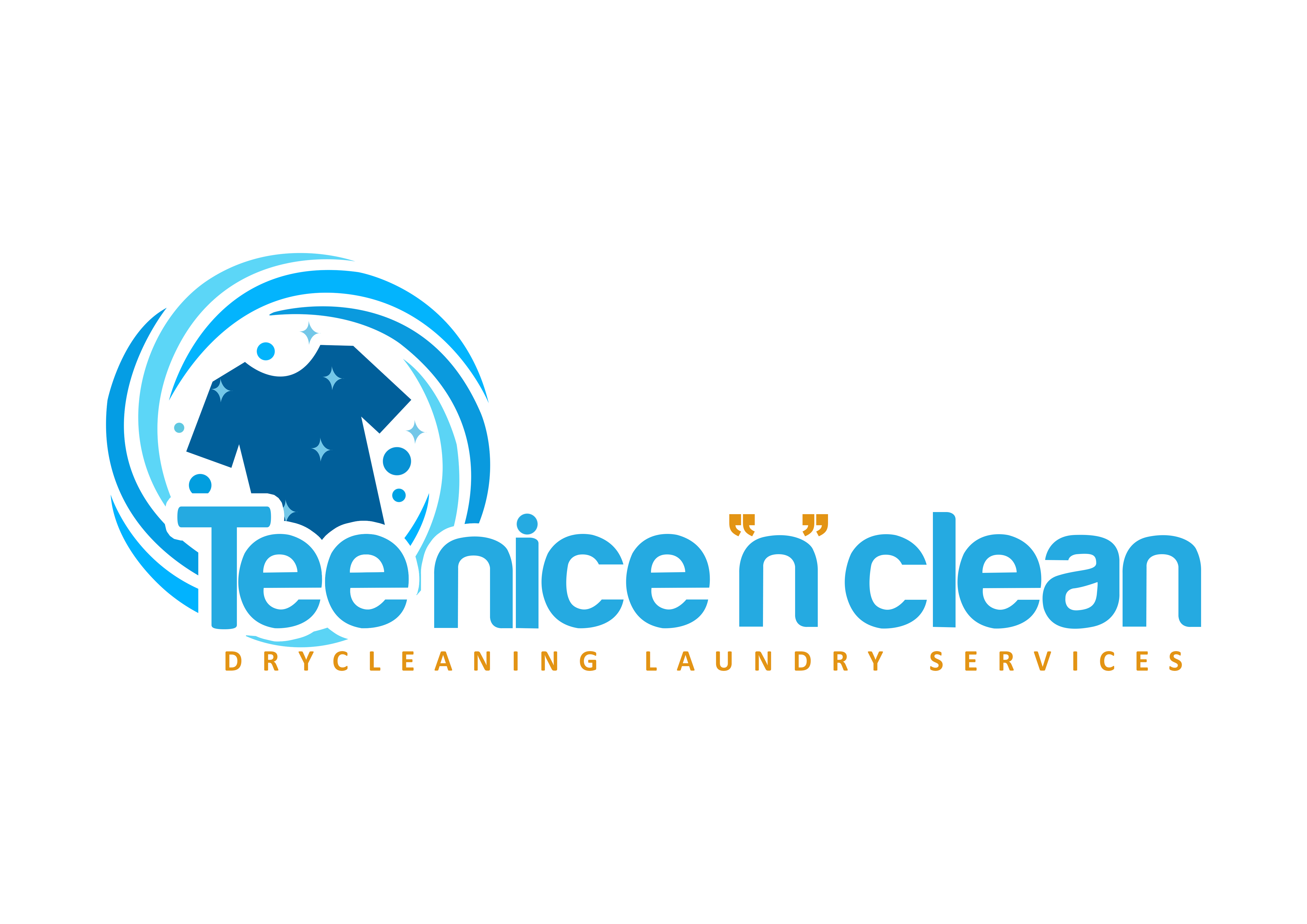 """TEE NICE """"N"""" CLEAN LAUNDRY SERVICES logo design (With"""
