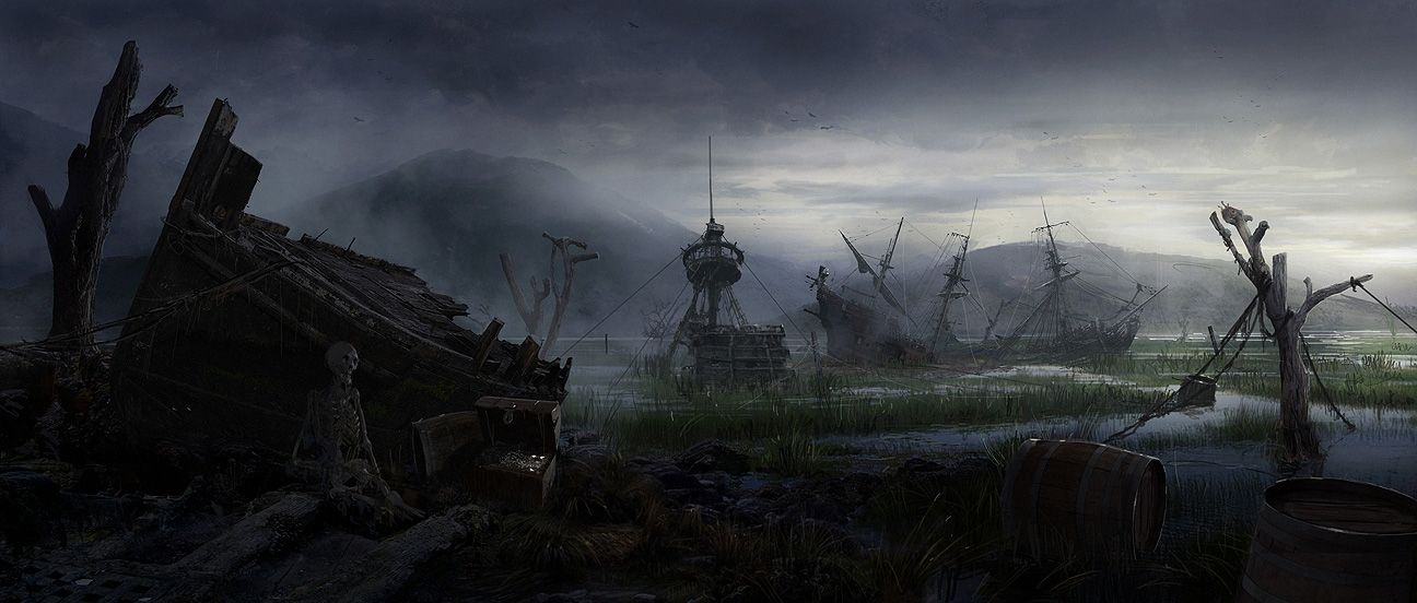 a ship's graveyard, a little swampy, from - Ad&d Art ...