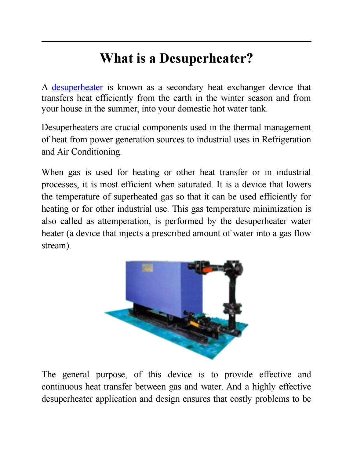 Desuperheater By Maniks Domestic Hot Water Refrigeration And