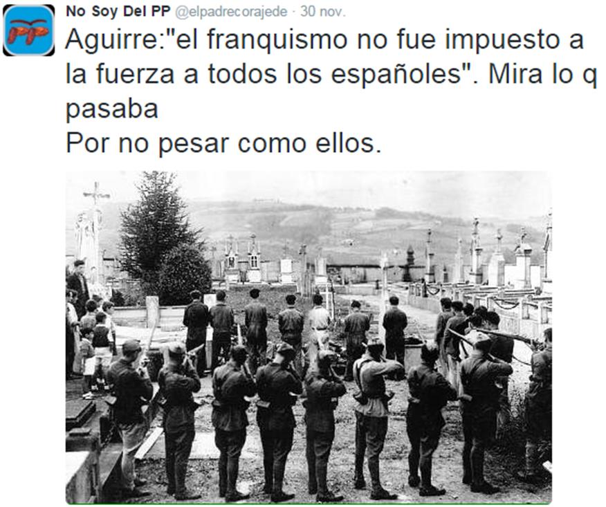 #PiensaTuVoto Aguirre afirma que el Franquismo no fue impuesto. #PP #20D #YoNoVotoPP