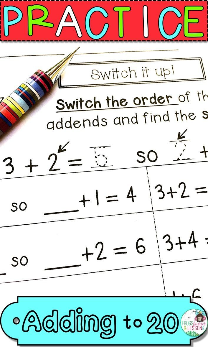 First Grade math worksheets for Adding to 20 practice. This Common Core  aligned…   Daily five math [ 1177 x 706 Pixel ]