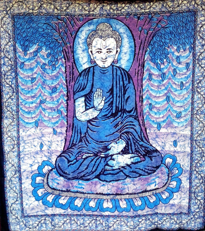 Buddha Tapestry Wall Hangings amazon - meditating buddha tapestry in #batik style large