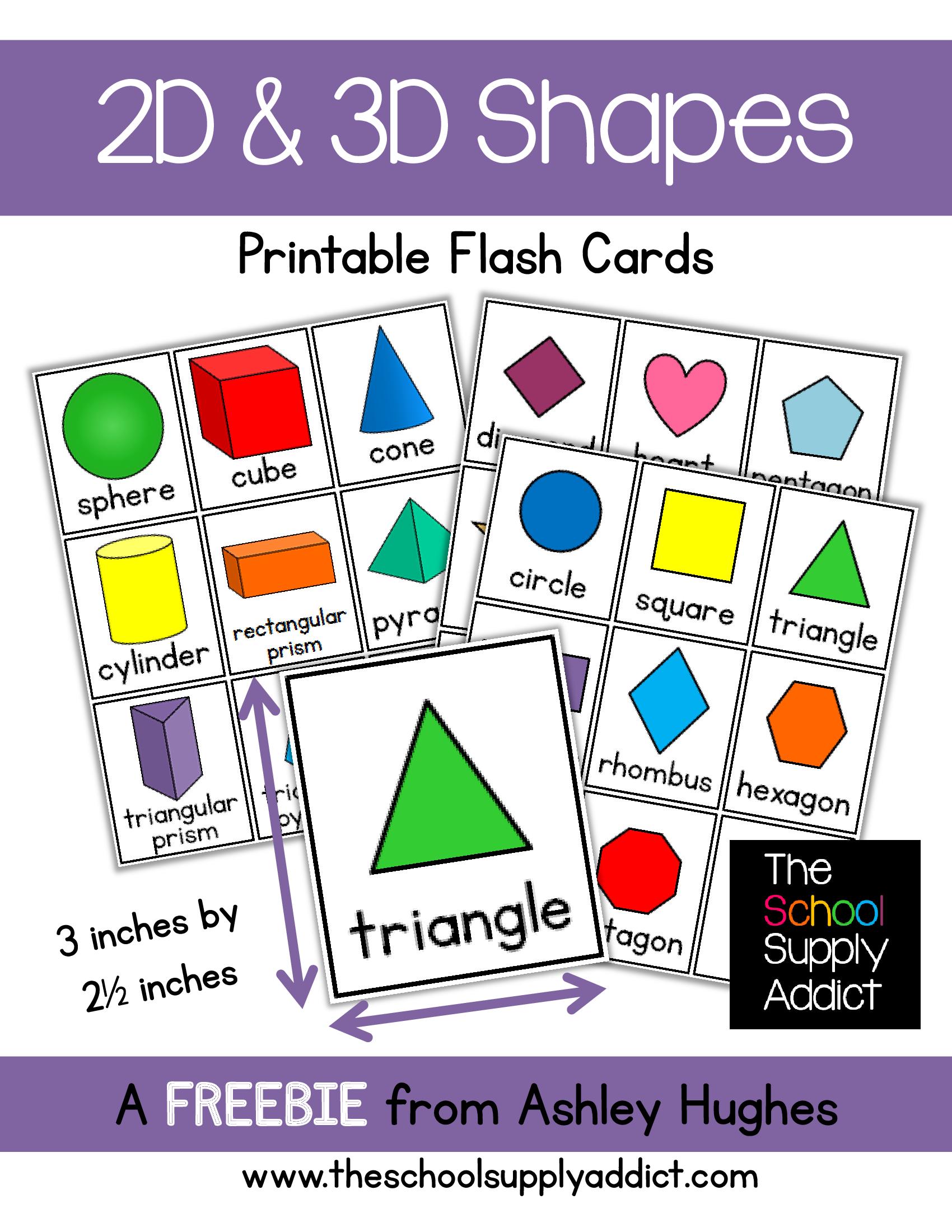 Flash Cards 2d Amp 3d Shapes