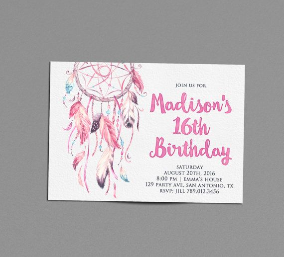 Boho Birthday Party Invitation Printable Dreamcatcher 16th Bday