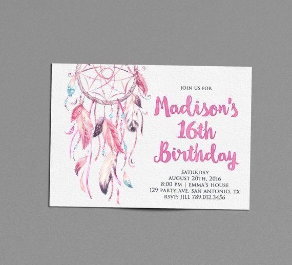 16th birthday party invitation printable, watercolor invite, boho, Birthday invitations