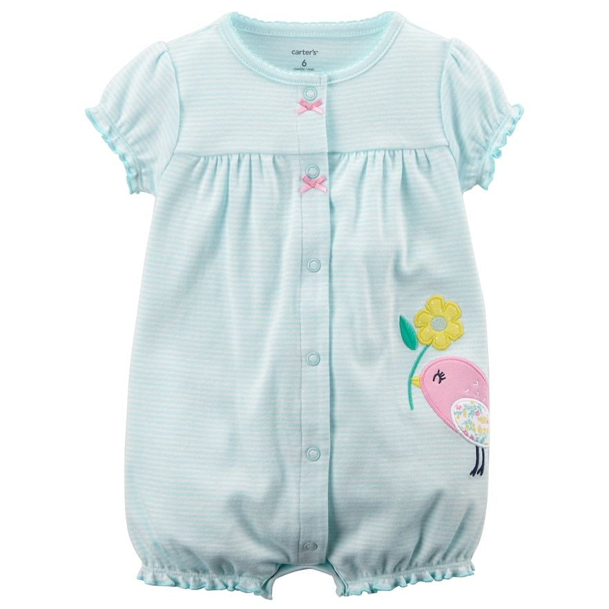 349dda295eb Baby Girl Carter s Striped Bird Applique Romper