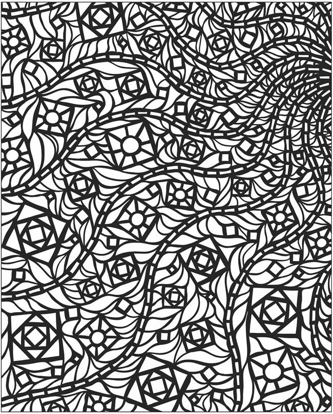 Mosaic coloring 6 - Could draw the squares and curves and then fill ...