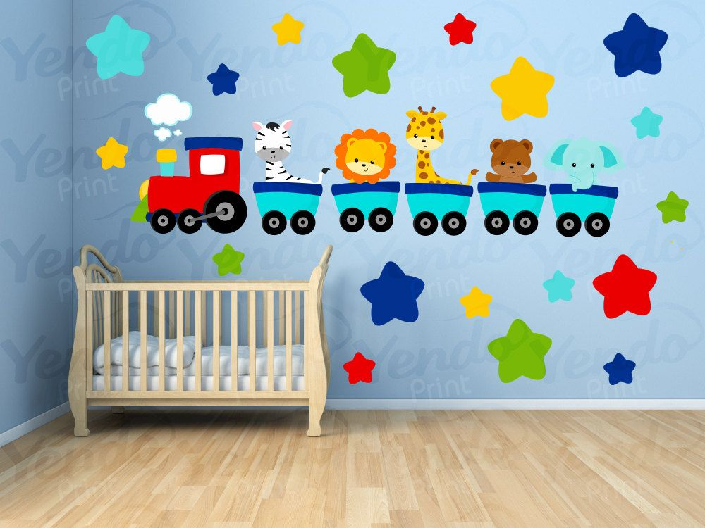Wall Decals for Kids Bedroom   Animal Train Wall Decal   Animal Nursery  Decals   Train Nursery Decals. Wall Decals for Kids Bedroom   Animal Train Wall Decal   Animal