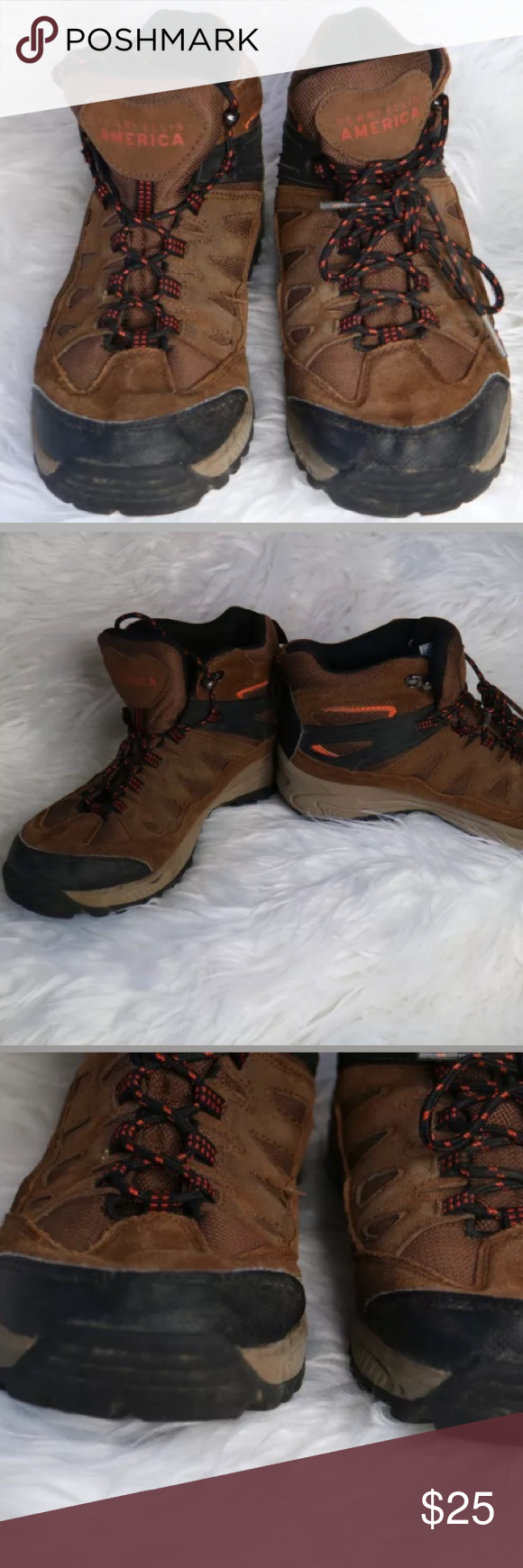 Boys PERRY ELLIS AMERICA Leather Hiking Boots Boys PERRY ELLIS AMERICA Leather Hiking Boots Style Name: Carter GP Youth Size: US 6 Leather Upper Brown with Orange Accents  Good Condition Washed to the best of my ability Odor free Has some wear as shown in pictures  SMOKE FREE HOME Perry Ellis Shoes Boots
