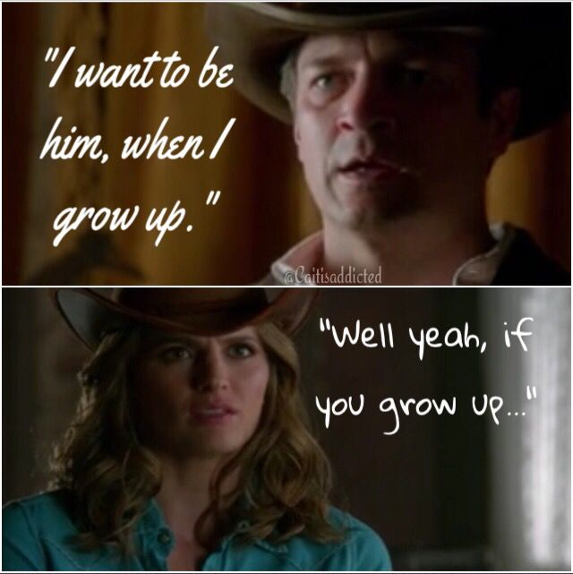 """""""I want to be him when I grow up."""" """"Well, yeah, if you grow up."""" Season 7 episode 7 'Once Upon A Time In The West'. #caskett #castletvshow #rickcastle #katebeckett #honeymoon #thewildwest #caskettalways"""