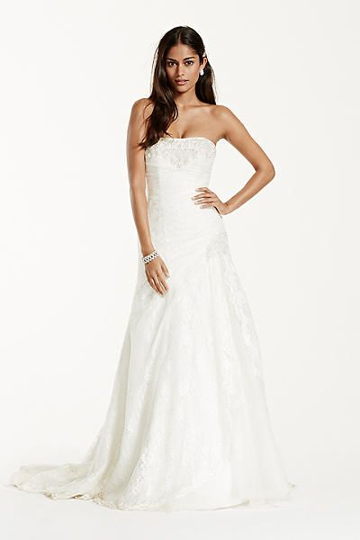 ADD STRAPS? David\'s Bridal Strapless Lace A-line Gown with Side ...
