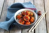 Photo of Juicy chicken balls with homemade barbecue sauce-Saftige Häh…