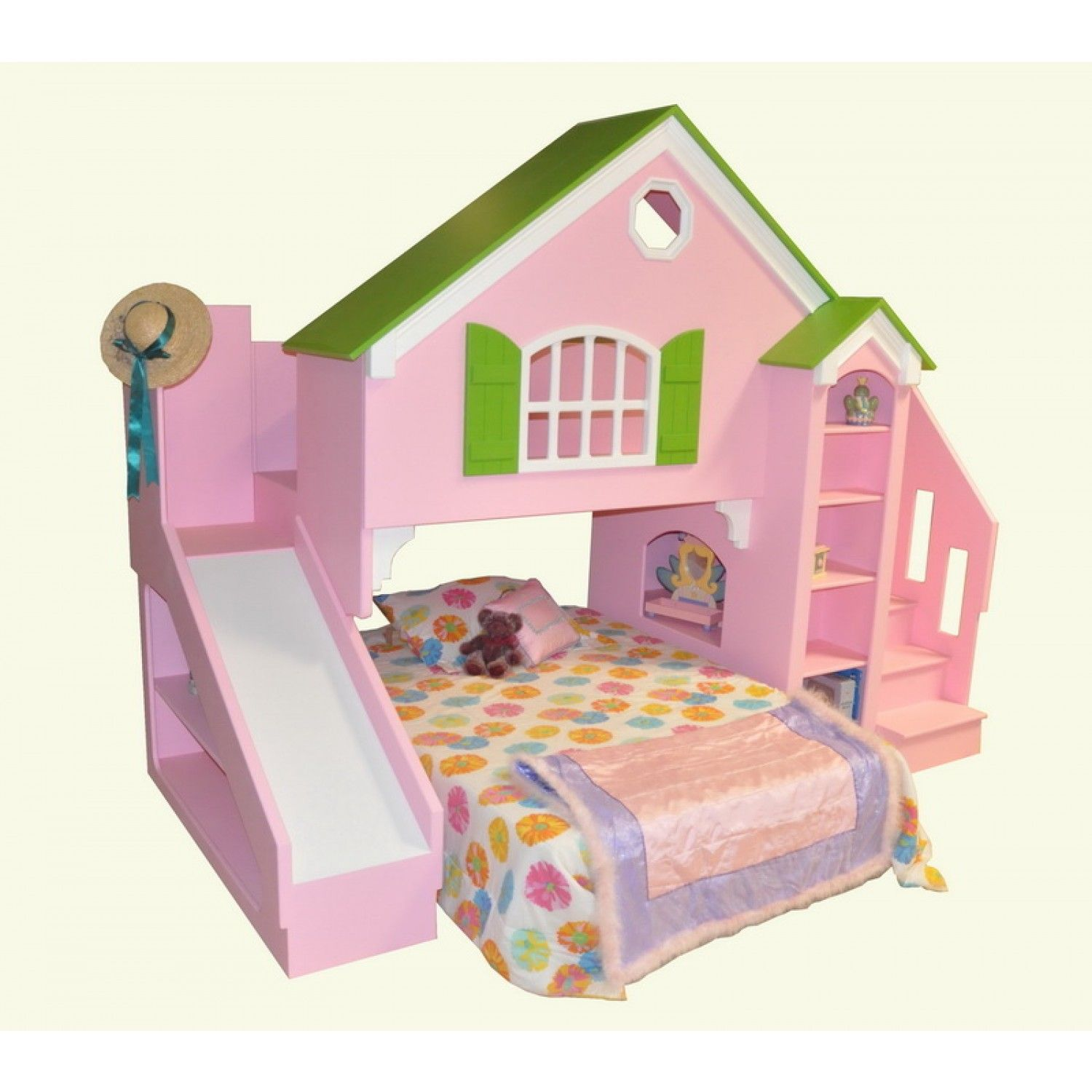 Kids loft bed with slide plans - Tanglewood Design Dollhouse Bed Plans With Optional Slide And Staircase Plans