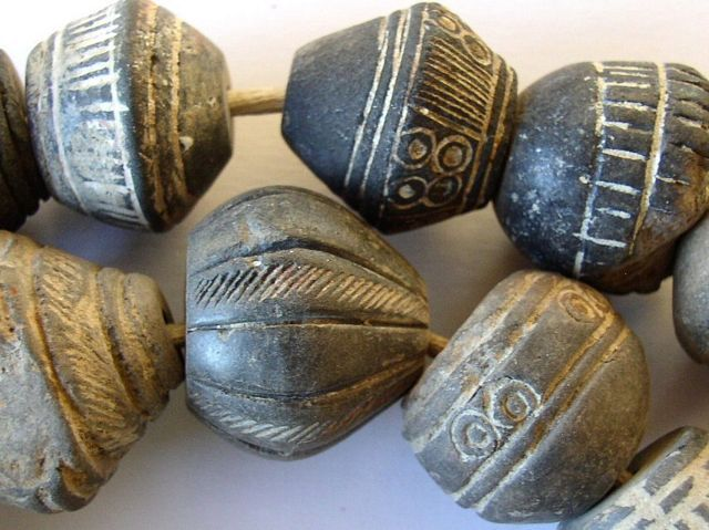 Image detail for -Carved Clay Spindle Whorl Beads - Mali (RF189)