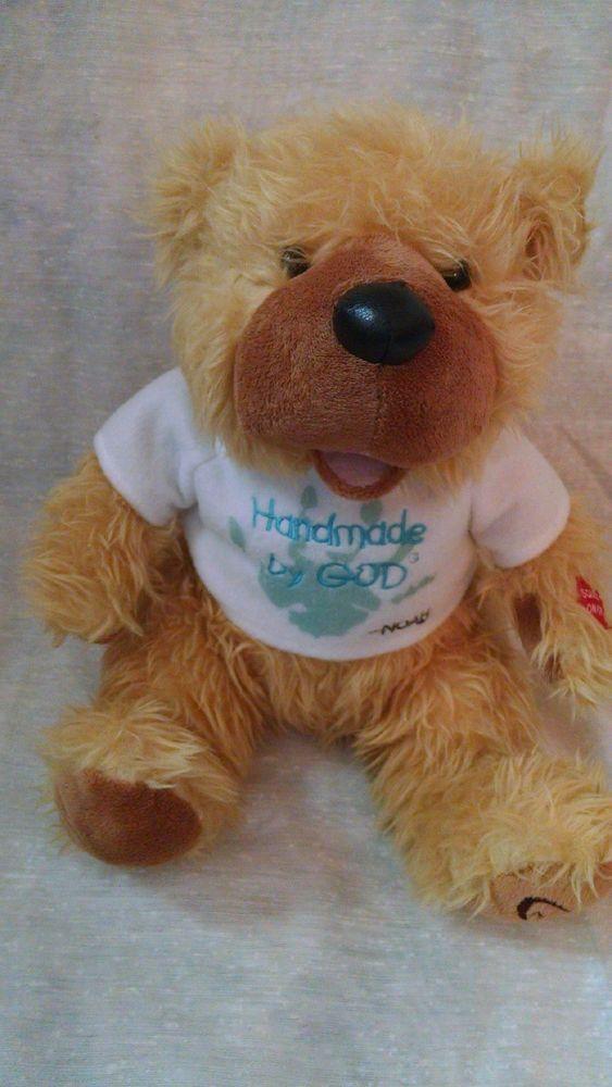 Handmade by God Bear Talks Baby Nursery Praying Toy Plush Noah Shirt Blue Soft