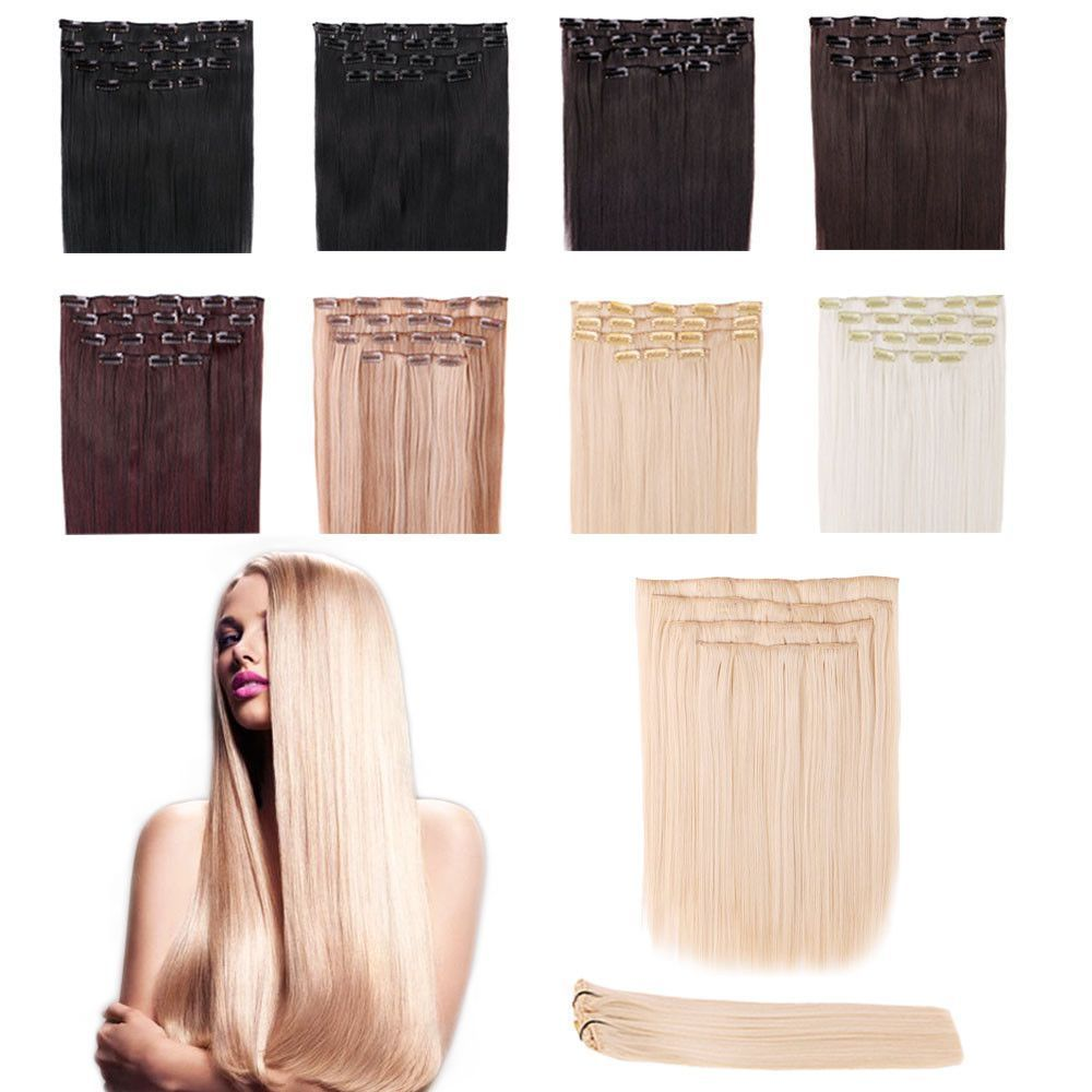 uu full head straight clip in on hair extension thick red