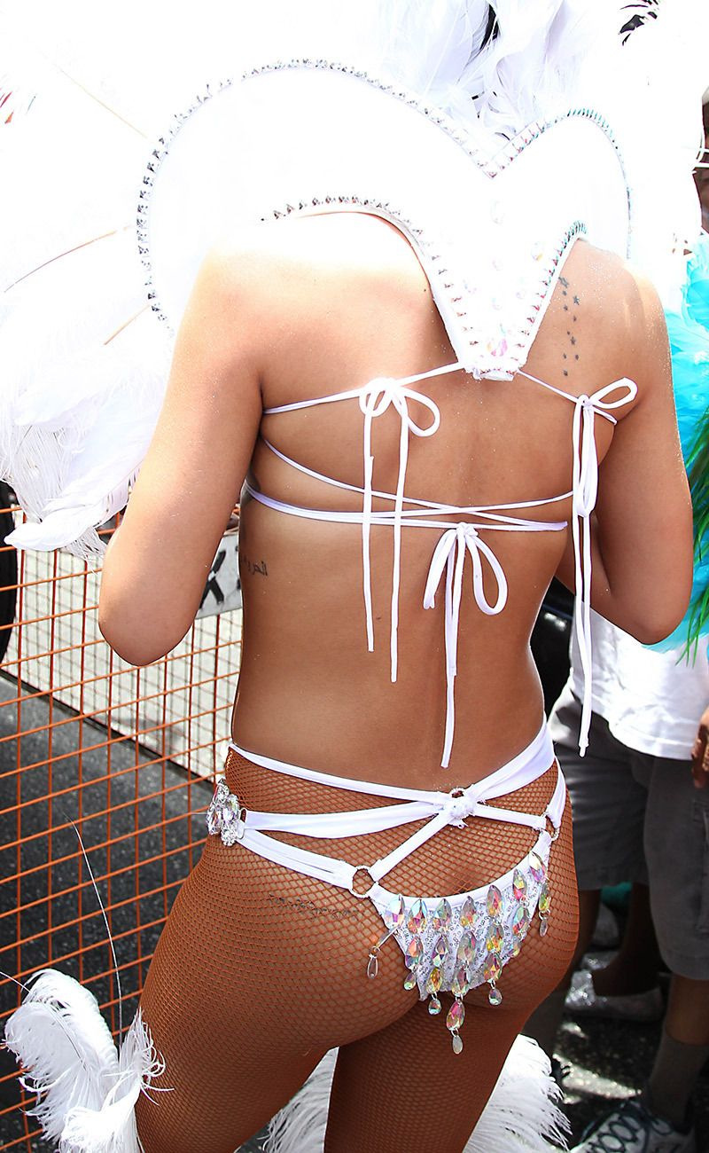 2575a1ec2 Rihanna shows off her sexiest bejeweled bikinis while celebrating Kadooment  Day in Barbados (Splash News)