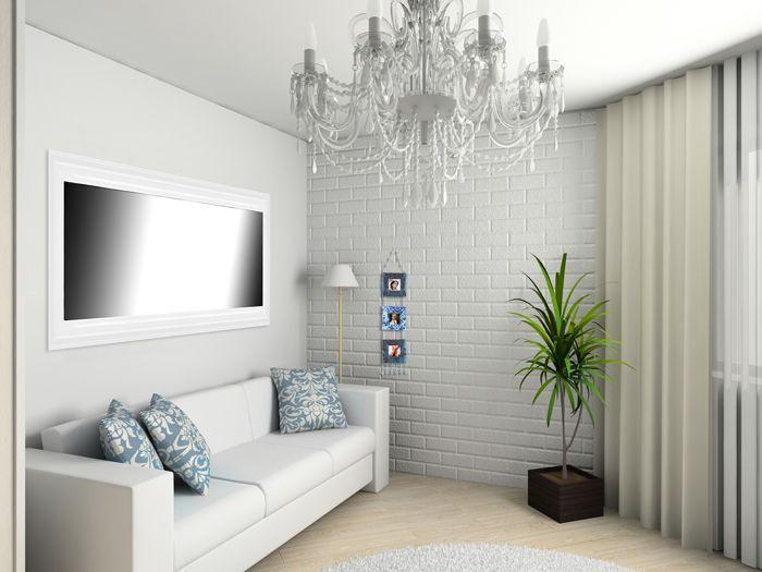 Exemple de salon de petite taille utilisation d 39 un miroir modena brio po - Decorer grand mur blanc ...