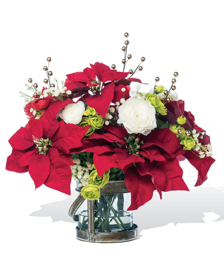 Poinsettia & Ranunculus Silk Holiday Arrangement Holiday