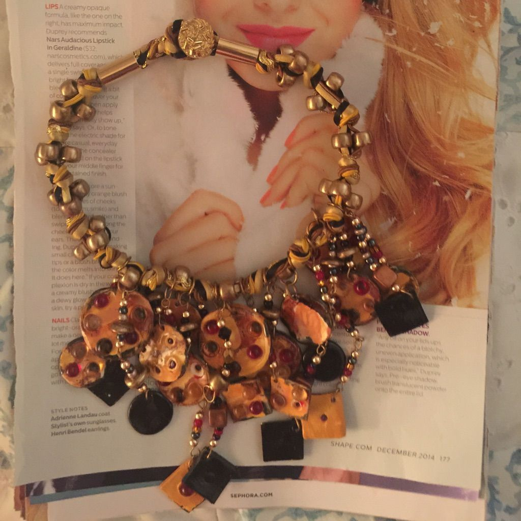 Vintage hobo beaded necklace amber gold brown red size and products