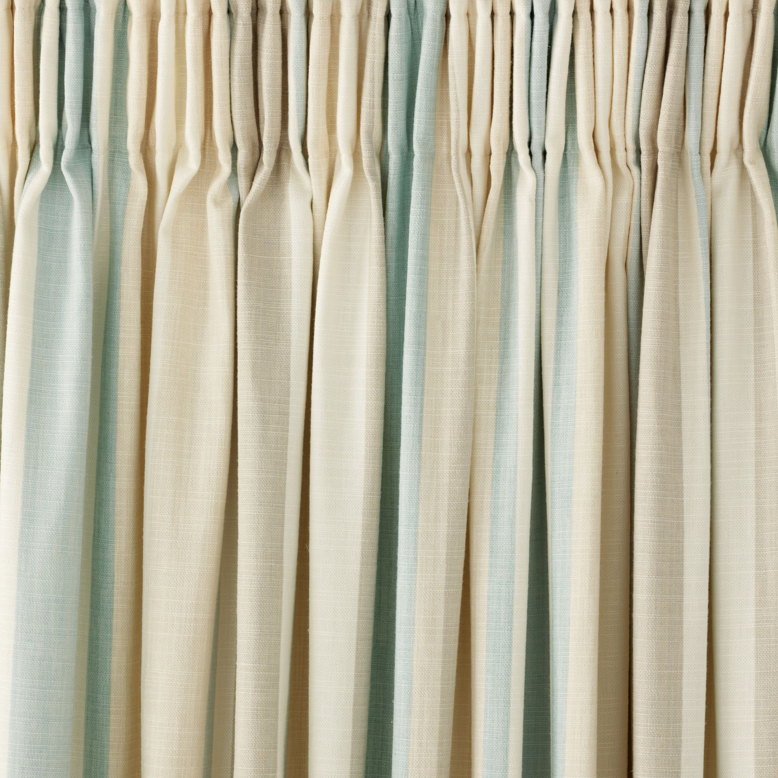 Awning Stripe Duck Egg Cotton Pencil Pleat Ready Made Curtains - Laura ashley silk curtains