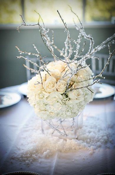 idée centre de table pour mariage en hiver