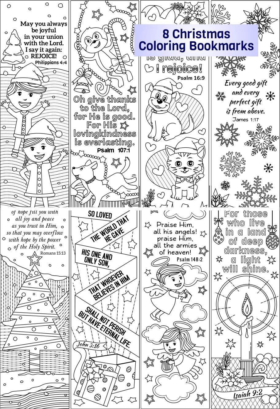christmas coloring bookmarks (plus colored items) | christmas