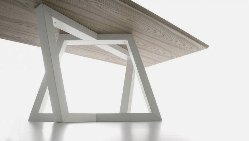 Dining Table Leg Designs Modern Dining Table With Trapezoidal Legs