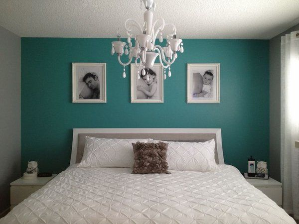 Dark Teal Bedroom Wall Color Balanced With White Furniture And Chandelier Teal Bedroom Decor Bedroom Wall Colors Teal Accent Walls