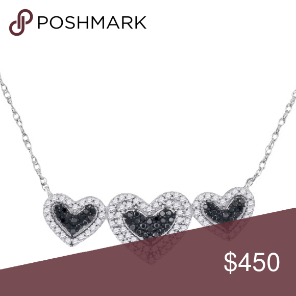 10kt Womens Black Diamond Heart Necklace 3 8 Cttw Heart Necklace Diamond Diamond Heart Diamond