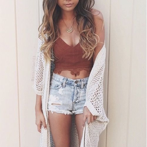 Image via We Heart It #boho #chic #denimshorts #fashion #girl #gorgeous #highwaist #hipster #lacetop #outfit #photography #ripped #summer #trendy #lacecardigan