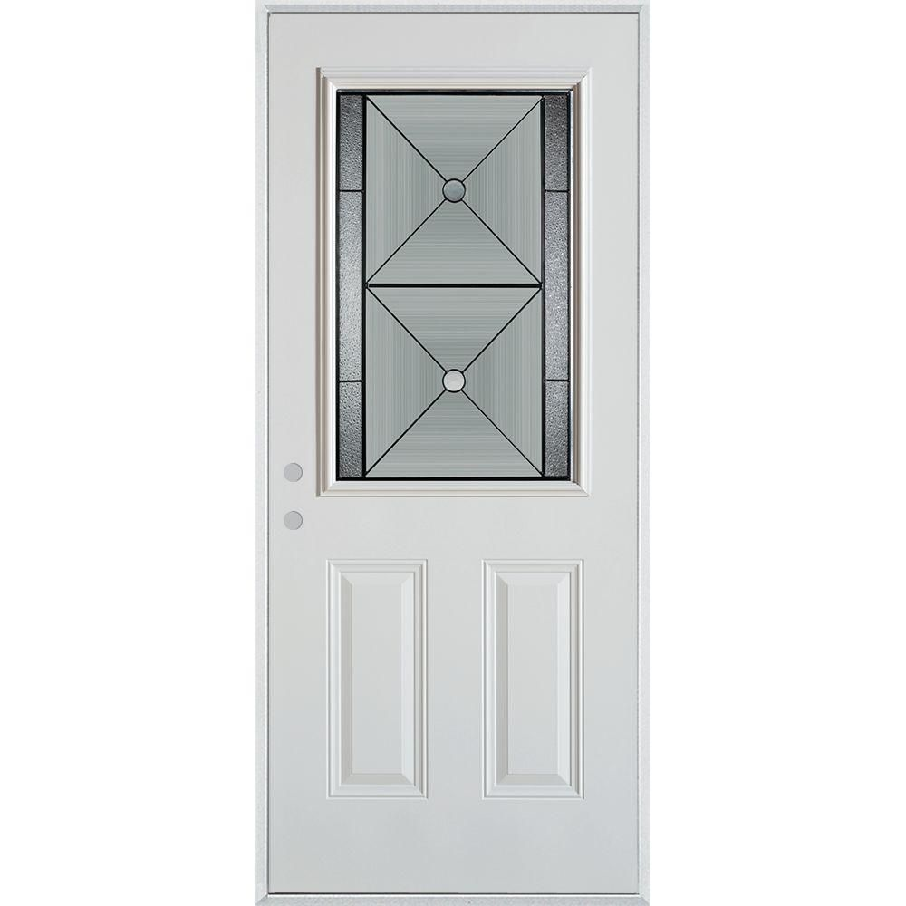 Stanley Doors 33 375 In X 82 375 In Bellocchio Patina 1 2 Lite 2 Panel Painted White Right Hand Inswing Steel Prehung Front Door Products Exterior Doors