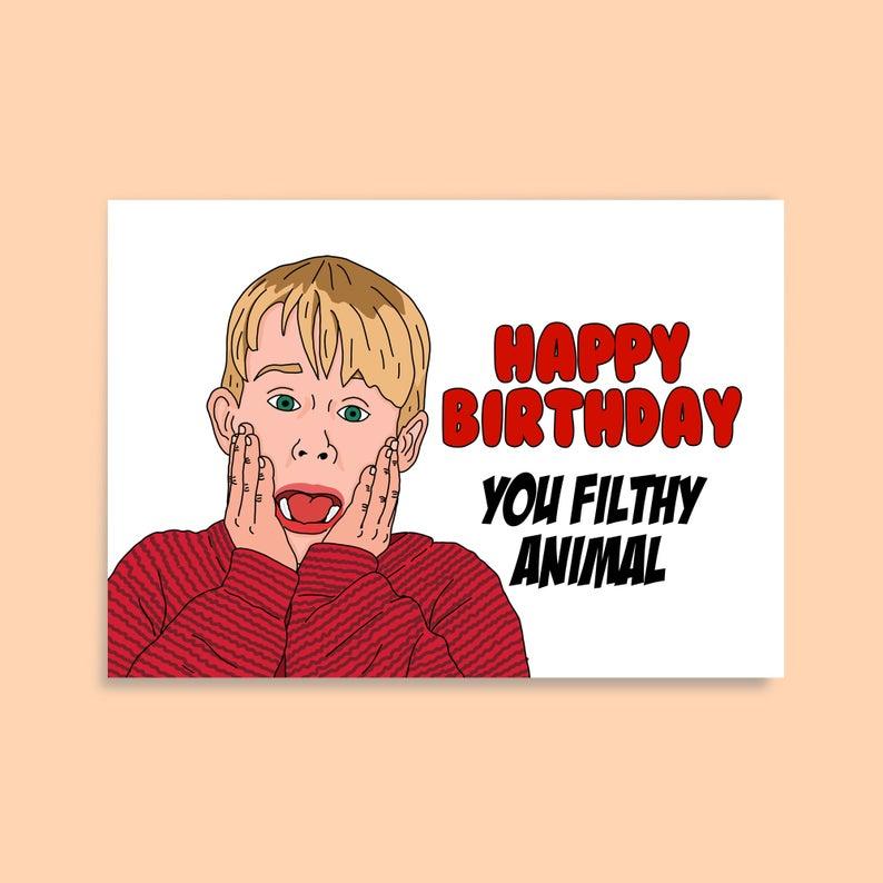 Funny Home Alone Birthday Card Custom Novelty Birthday Cards Etsy Birthday Cards Cards Paper Cards
