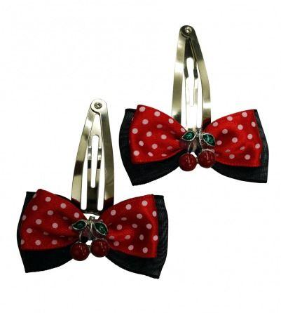 Black & Red Polka Dots Hair Pin Cherry