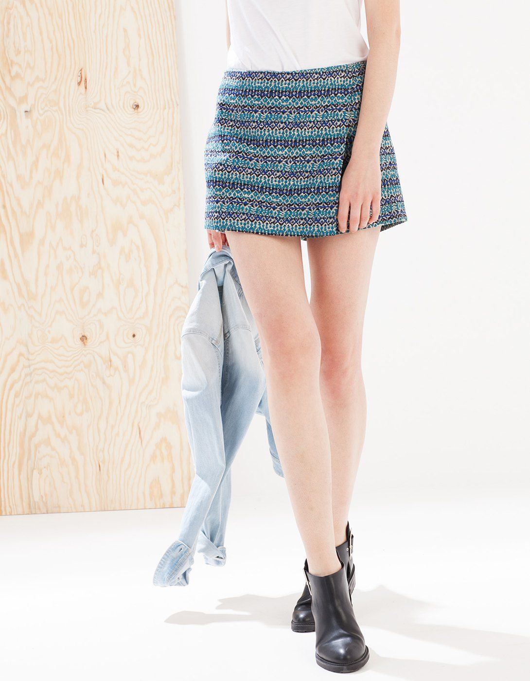 Falda pantalón jacquard