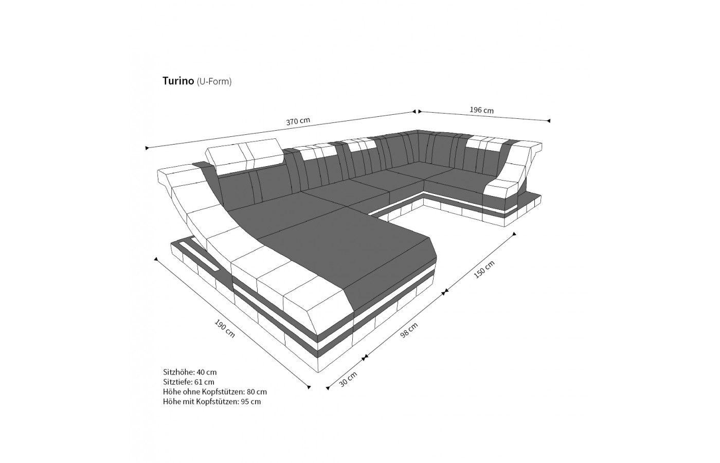 moderne design wohnlandschaft turino u form aus leder mit led beleuchtung multifunktionale. Black Bedroom Furniture Sets. Home Design Ideas