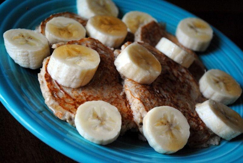 Breakfast: greek yogurt pancakes. made with yogurt, egg whites, and 3/4 cup of oatmeal