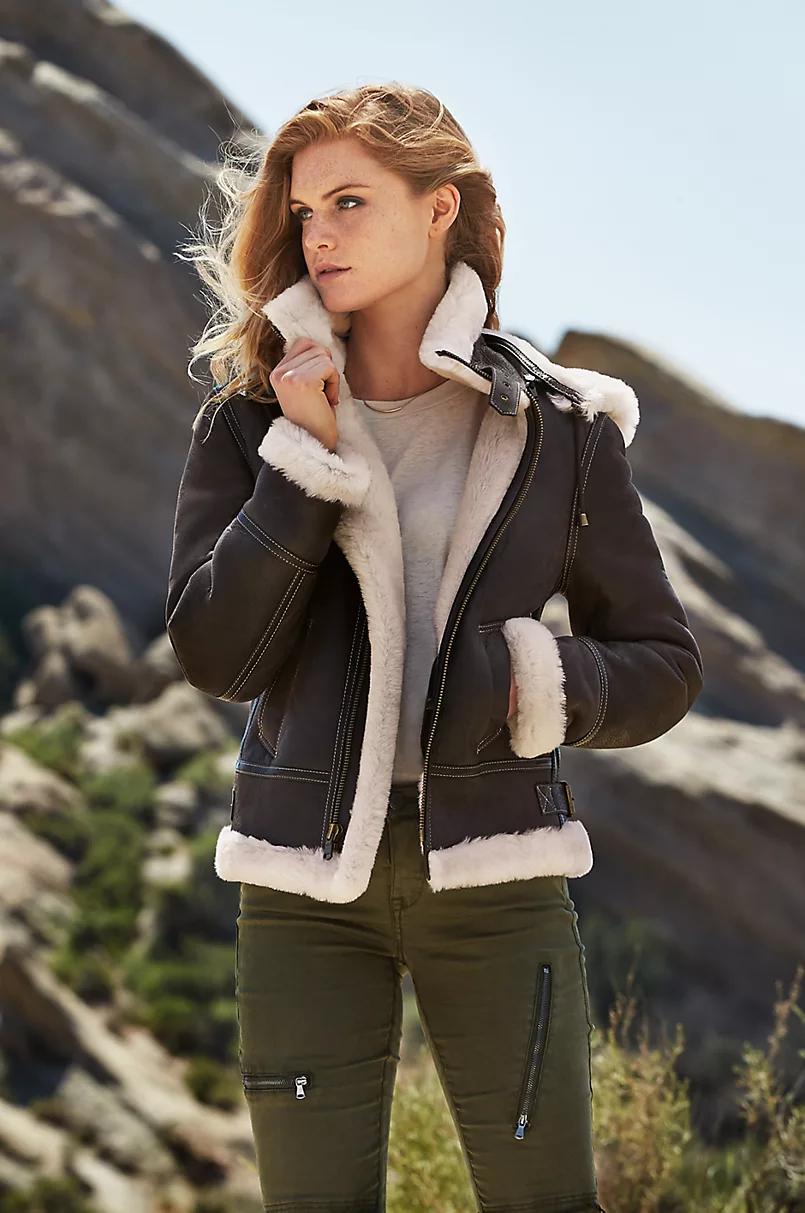 Jane Sheepskin B3 Bomber Jacket with Detachable Hood