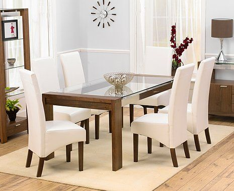 Rochelle Walnut Glass Dining Table 180cm 6 Marcello Ivory