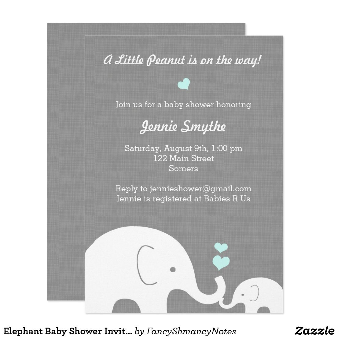 Elephant baby shower invitation blue hearts card little peanut elephant baby shower invitation blue hearts card little peanut invitations in grey and white feature stopboris Image collections