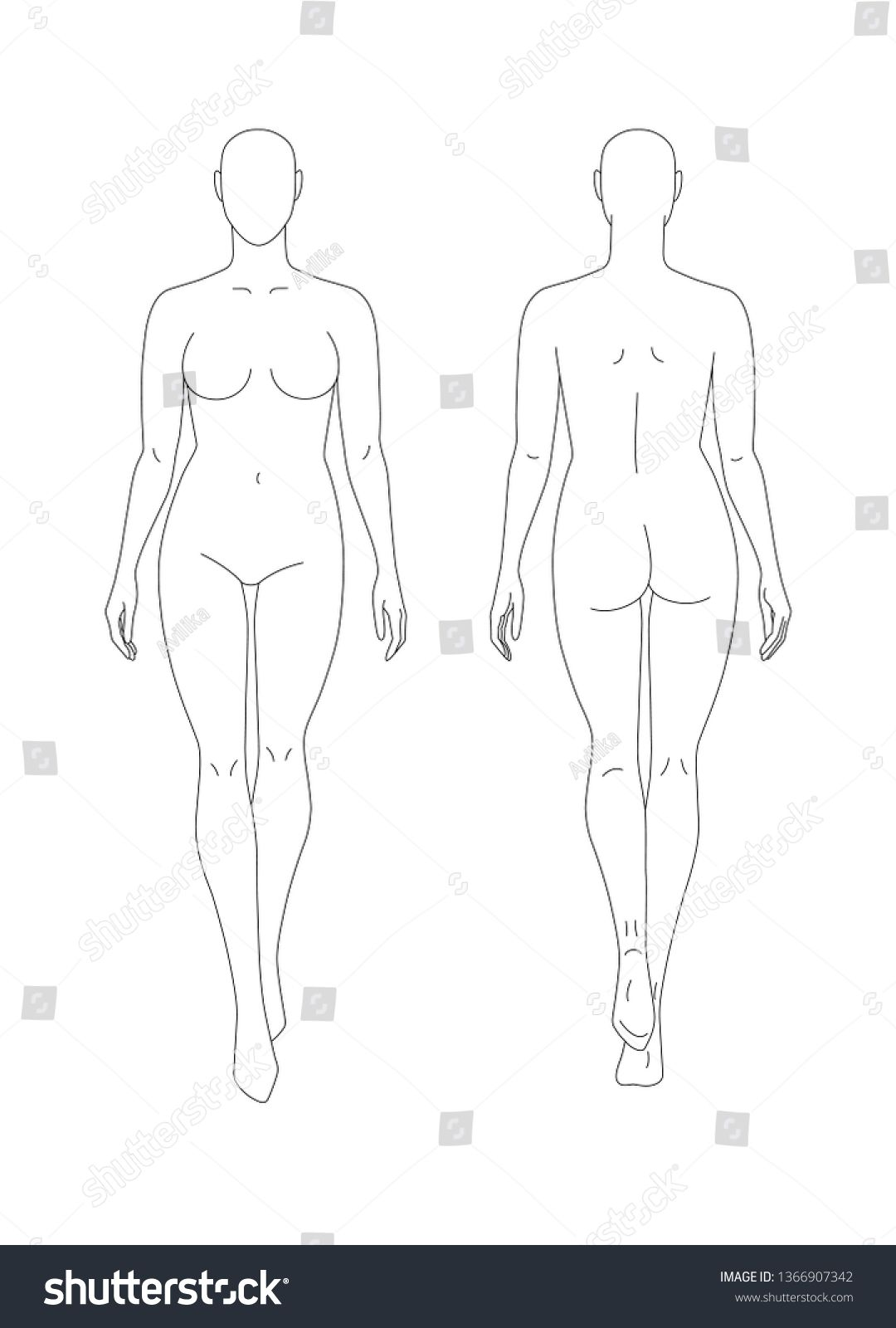 Photo of Sketch Full Female Body Front Back Stock Vector (Royalty Free) 1366907342