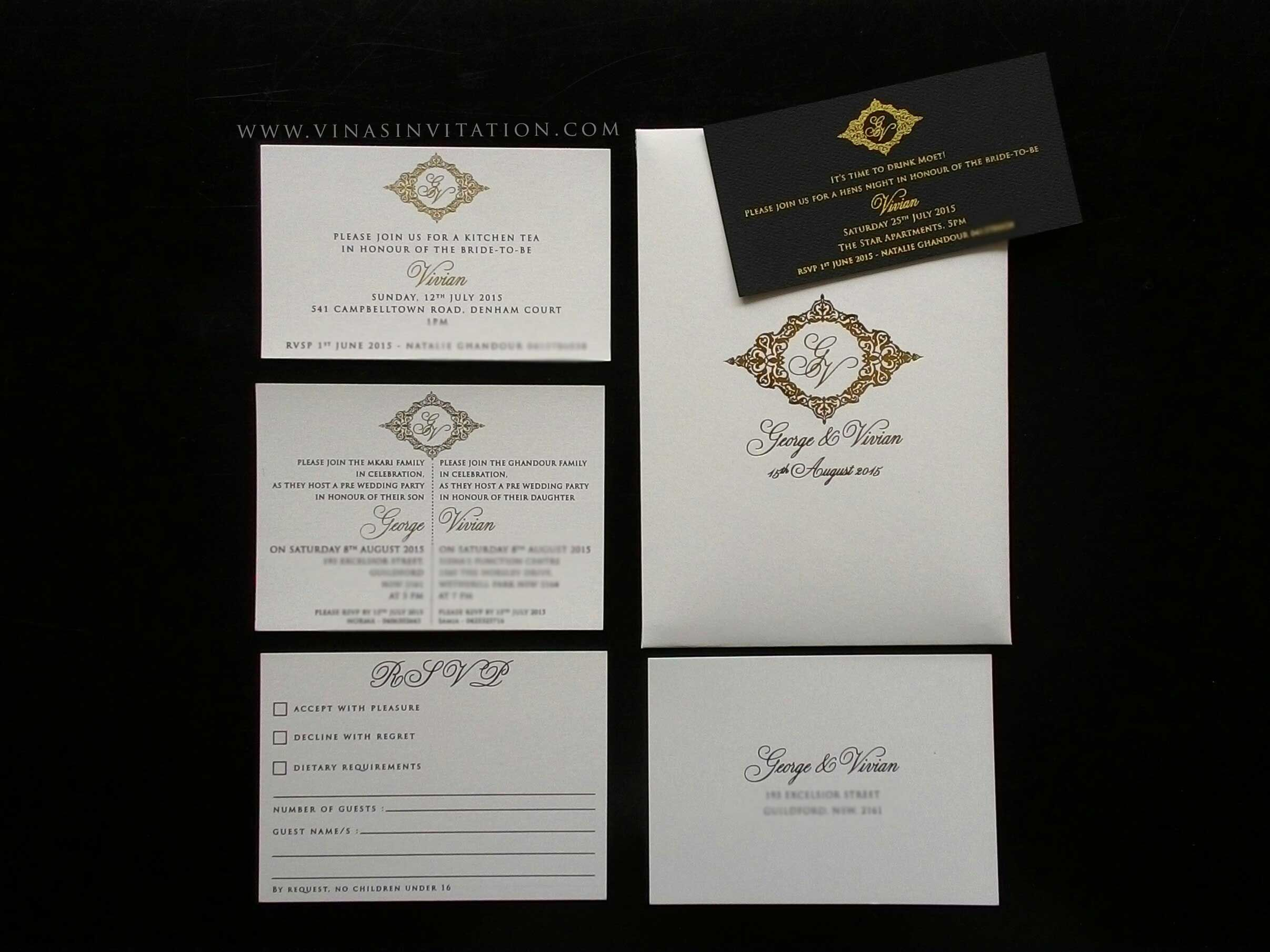 Vinas invitation. vinas sydney. australian wedding invitation ...
