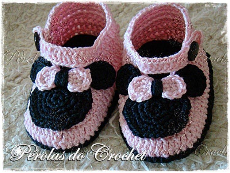 Pérolas do Crochet: Sapatinho em crochet para bebe Minnie